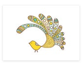 Spike -limited edition gocco screen print -Exotic Bird Series 5x7