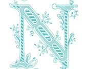 Hand drawn monogrammed print, 8x10, the Letter N, in the color blue