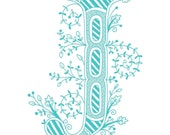 Hand drawn monogrammed print, 8x10, the Letter J, in the color  blue