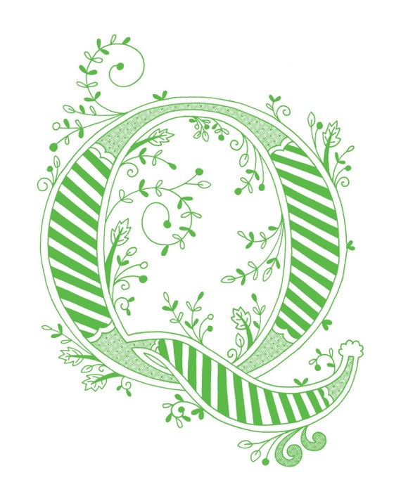 Items Similar To Hand Drawn Monogrammed Print 8x10 The Letter Q In