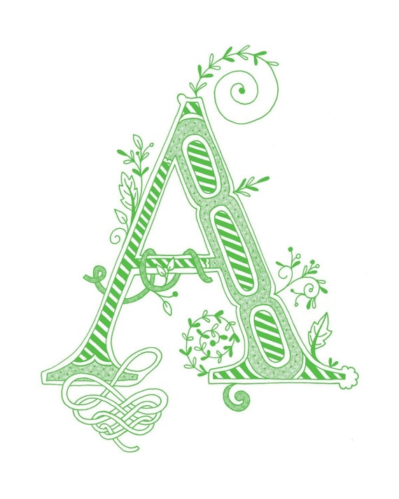 Items Similar To Hand Drawn Monogrammed Print 8x10 The Letter A In