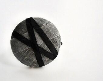 Black on Silver - One Oversized Dupioni Silk Hair Tie - Button Ponytail Holder - Hair Candy by Gazzu