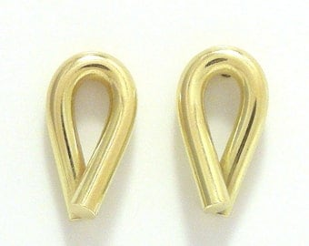18k yellow gold crossover post earrings