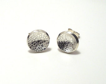 small sterling silver lace imprint post earrings