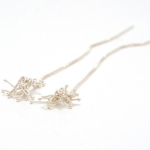 sterling silver bud ear threads