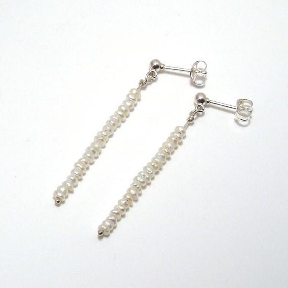 mini freshwater pearl long dangle earrings on sterling silver ear posts