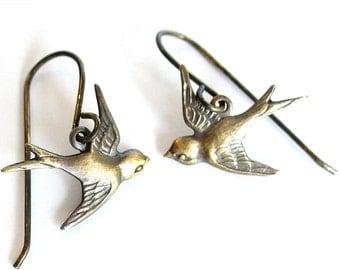 Little Bird Charms on Vintaj Nickel Free Brass Hooks in Antique Brass Girly Retro Free Shipping Promotion