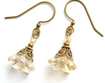 Champagne Luster Glass Flower Antique Brass Filigree Earrings Girly Retro Bridal Free Shipping Promotion