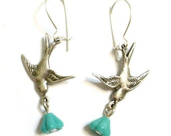 Little Birds Turquoise Glass Flowers in Antiqued Silver plated with Sterling Kidney Wires Girly Retro Bridal Free Shipping Promotion