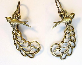 Little Birds with Leafy Filigrees on Nickel Free Vintaj Brass Hooks in Antique Brass Girly Retro Bridal Vintage Look Free Shipping Promotion