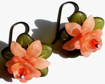 Antiqued Copper Peach Leafy Layered Flower Earrings on Hypo-Allergenic Niobium Earwires Free Shipping Promotion