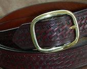 Wide Leather Belt with Basketweave Design, Handmade Leather Belt