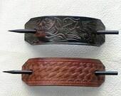 Retro Leather Hair Barrettes with Sticks, Hippie Barrettes