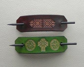 Celtic Knot Leather Hair Barrettes, Retro Style Barrettes, Hippie Hair Barrettes