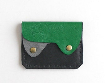 Compact Leather Wallet, Coin Purse, Card Case, Small Leather Wallet