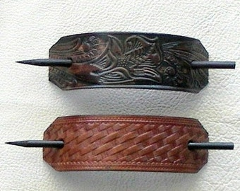 Retro Leather Hair Barrettes with Sticks, Hippie Barrettes