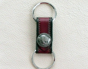 Leather Keyring with Buffalo Nickel Coin, Double Keyring, Two part keyring