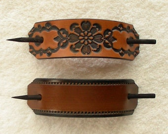 Retro Leather Barrettes with Sticks, Hippie Barrettes