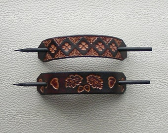 Leather Hair Barrettes with Sticks, Retro Barrettes, Hippie Hair Barrettes