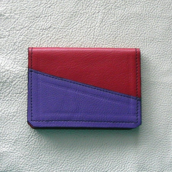 Leather Card Case, Red and Purple, Red Hat Ladies Card Case