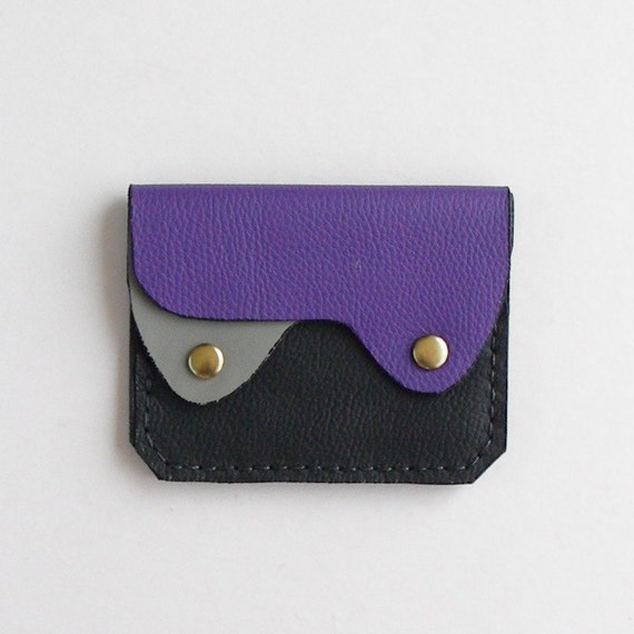 Small Leather Wallet, Coin Purse, Card Case, Purple Leather Wallet