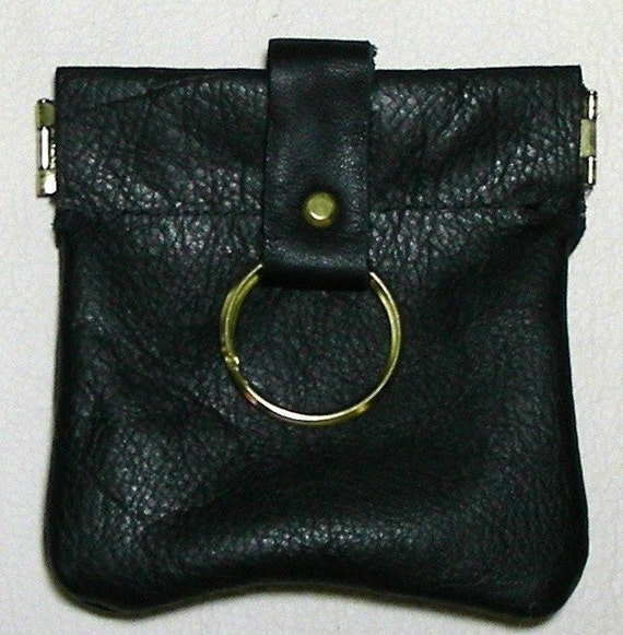 Leather Spring Close Coin Purse, Squeeze Frame Coin Purse