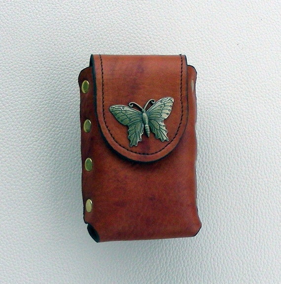 Leather Cigarette Case with Butterfly Concho