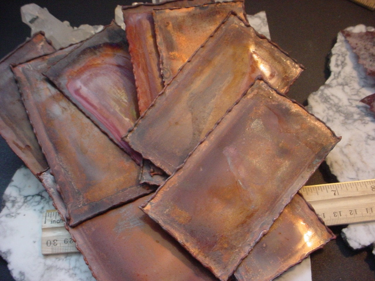 2pc Anodized Aged Copper Sheet Metal 22g Molten Edges
