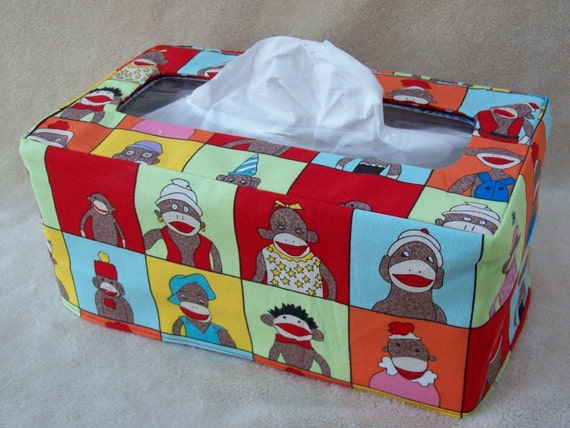 Funky Monkey reversible rectangle tissue box cover