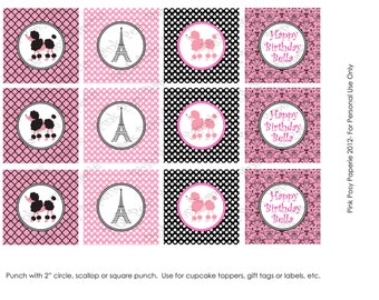 Printable Paris Poodle Birthday Cupcake Toppers