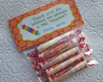 Printable Personalized Smartie Teacher Appreciation Bag Toppers