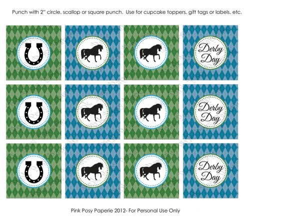 Printable Derby Day Cupcake Toppers