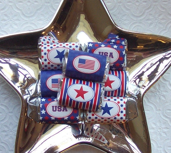 Printable July 4th Mini Candy Bar Wrappers
