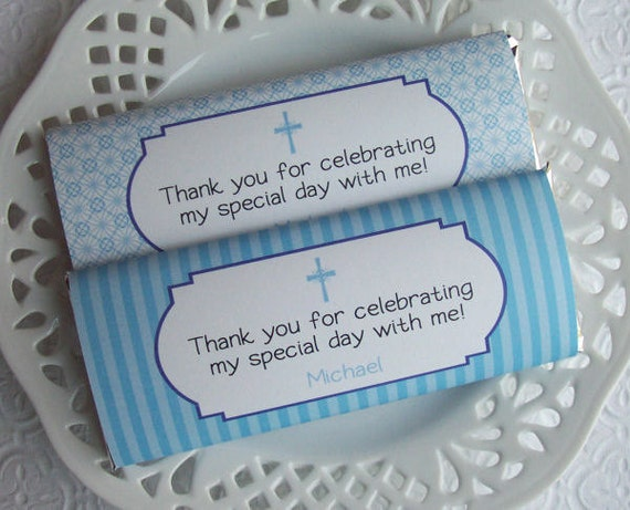 Printable Personalized First Communion or Baptism Boy Large Candy Bar Wrappers