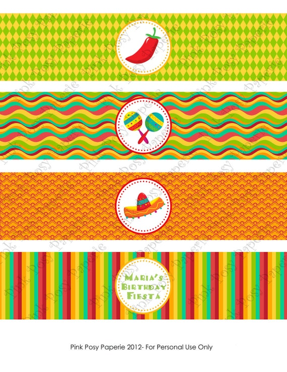 Printable Cinco De Mayo Fiesta Birthday Water Bottle Wrappers