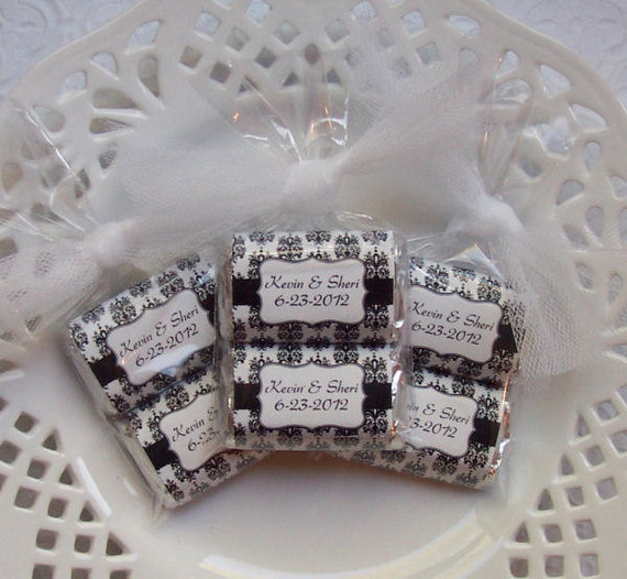 Printable Personalized Black and White Damask Wedding Mini Candy Bar Wrappers
