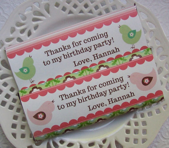 Printable Personalized Spring Bird Birthday Large Candy Bar Wrappers