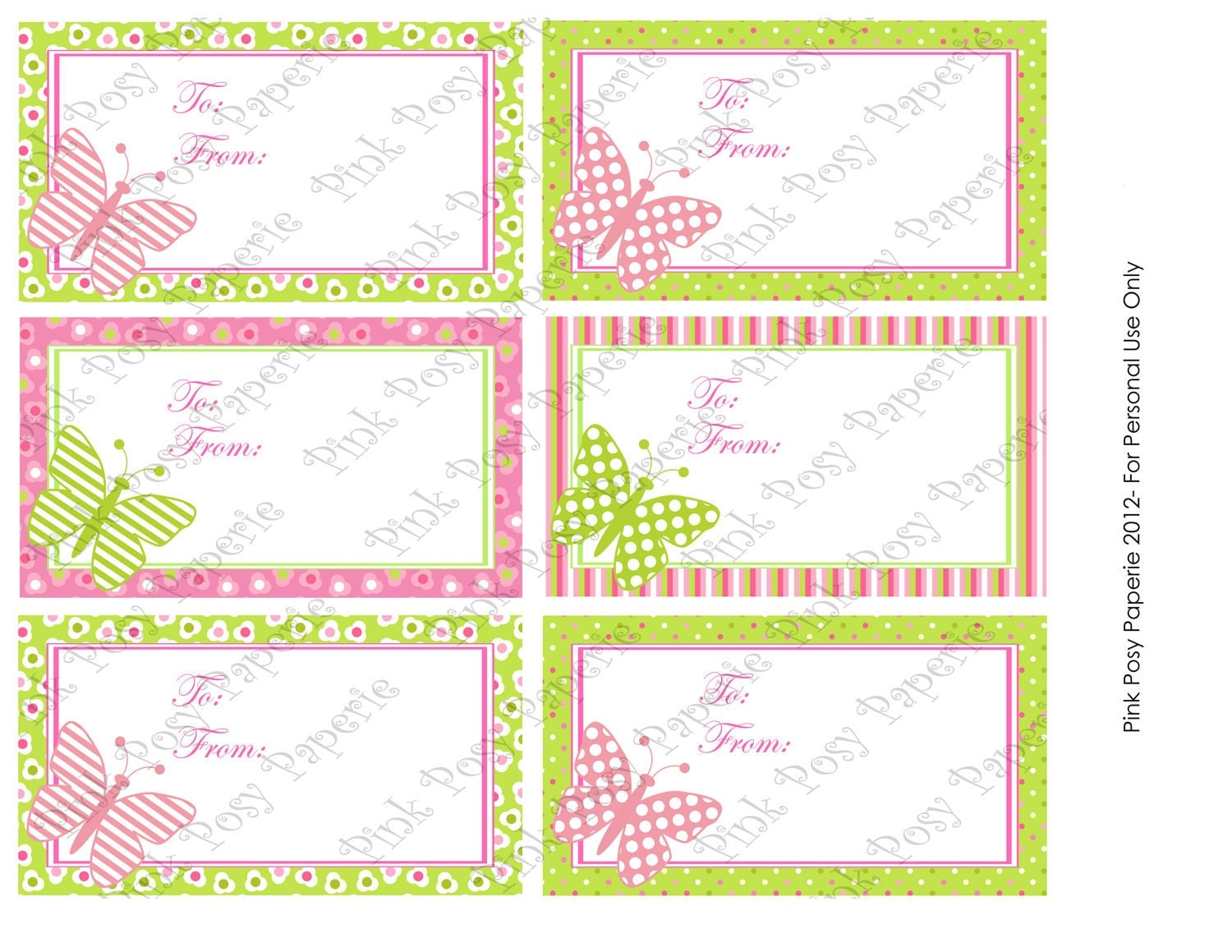Printable Mothers Day Butterfly Gift Tags by PinkPosyPaperie
