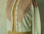 SOFT 50's Cardigan with Pink Lace Overlay XS Sm