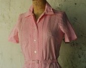 Cotton Candy Pink Gingham Checkers Cotton Day Dress