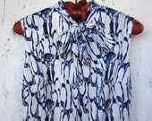20% off Sale Vintage Navy and White Mod Penguin Print Shift Dress See Shop Announcement for Coupon Code