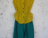 Vintage Mustard and Ivy Hued Romper // Pixie Style // Jumper