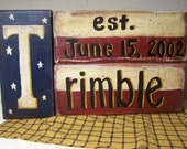 NAME stacking block sign PERSONALIZED Americana block set custom wood shelf sitter surname