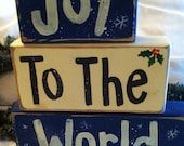 Joy to the World sign Christmas stacking 2 x 4 wood blocks Religious holiday decor hand painted