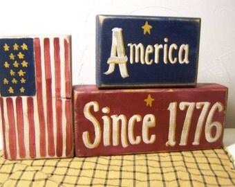 America Since 1776 Sign Wood Blocks chunky shelf sitter stacking