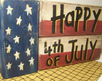 Happy 4th of July sign stacking wood blocks Shelf sitters