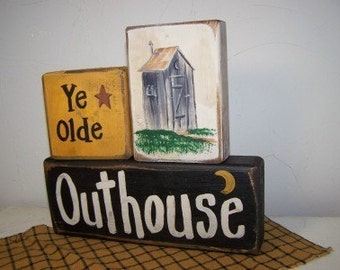 Ye Olde Outhouse sign bathroom decor wood block shelf sitters chunky 2 x 4