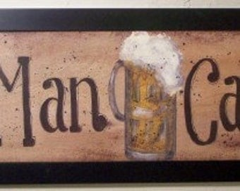 Man Cave Sign framed painting Beer Mug den bar decor