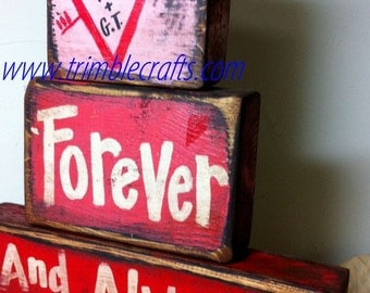 Forever Always sign Personalized Heart wood block stacking