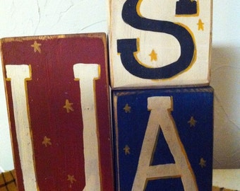 USA Sign stacking wood blocks 4th July Americana decor